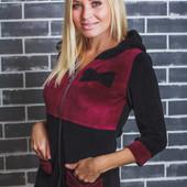 Домашний женский велюровый халат 01302 (2 цвета)