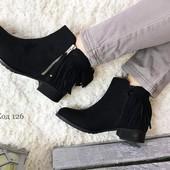 Ботинки женские черные с рюшками пятка. Польша