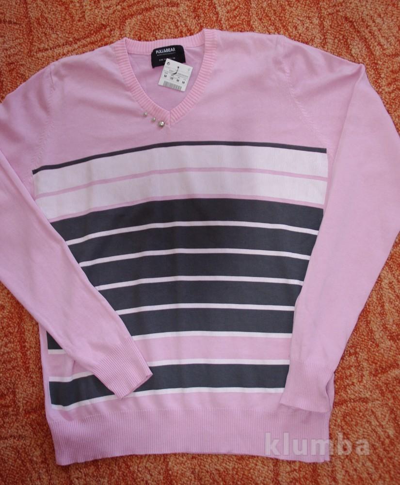 Стильный мужской нежно-розовый свитер реглан хлопок Pull&Bear Испания фото №1