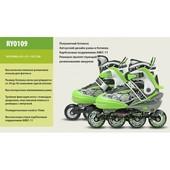 Роликовые коньки Extreme Motion RY0109 р. 39-42, салатовые, металл.рама, клипса, шнурок. Доставка