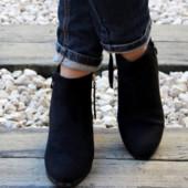 Замшевые ботинки на устойчивом каблуке 36-41р