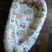 Гнездышко-кокон  для новорожденного  одноцветный на заказ 60-70 см