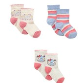 Распродажа - Носочки набор 3 шт. от Mothercare  на 6 месяцев - 2 года носки девочке мальчику
