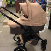 Новая! детская универсальная коляска Victoria Gold Saturn Len Plastic 2в1 бежевая slp1