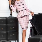 Костюм в стиле Шанель с юбкой и жакетом р. S