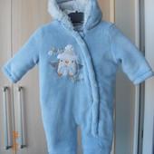 Комбинезончик на 3-6 месяцев с утеплителем мальчику + рукавички.  В идеале.