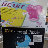Объёмные 3Д (3D) пазлы. 2 вида - сердце, месяц