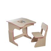 Эко парта растущая + стульчик, розовая