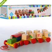 Деревянные игрушки паровозик конструктор английский алфавит