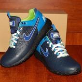 Мужские кожаные кроссовки Nike Air Max синие Новинка 2016