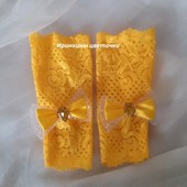 Митенки-перчатки желтого цвета