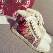 Утепленные кеды ботинки Gucci. Гуччи.Под заказ