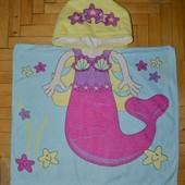 Фирменное Детское полотенце - пончо русалка русалочка махровое С капюшоном