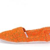 Женские стильные эспадрильи. Оранжевые. 24 см.