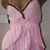 майка-туника-сарафан с деревянными бусами - 3 цвета - розовая, черная, шоколад - см. фото