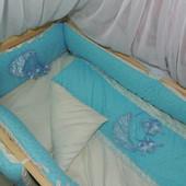 """Постельное белье в детскую кроватку """"Bonna Lux"""" голубой"""