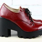 Туфли, ботинки на тракторной подошве, р. 36-40, бордо, натур. кожа, код 1926