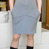 Итальянское кофейное платье с карманами на красивые бёдра. Размер: 40 / 12 / L