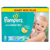 Подгузники pampers active baby-dry Junior 5 (11-18 кг) Giant Box, 87 шт.