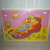 Деревянные игрушки - шнуровка ботинок