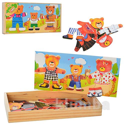 Деревянные игрушки - вкладыши мишки гардероб фото №1