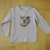 86-92 см Kidkanai отличная футболка с рукавом реглан фирменный хлопок. Длина 37 см, ширина под рукам