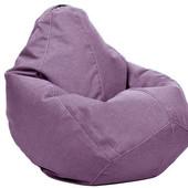 Бледно-сиреневое кресло-мешок груша 100х75 см из микро-рогожки