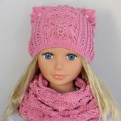 В наличии комплект Шапка ажурная+шарф. Разные цвета. 50-56 см