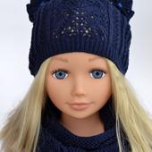 В наличии комплект для девочки. Шапка ажурная+шарф. ОГ 50-56 см