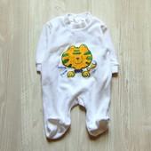 Белоснежный велюровый человечек для новорожденного. Удобная застёжка сзади. C&A. Размер 0-1 месяц