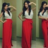 Платье в пол с красным низом
