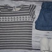 2 - 3 года 98 см Обалденная фирменная натуральная футболка девочке Next Некст