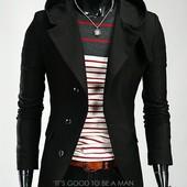 Пальто с капюшоном из кашемира  ХL (2з