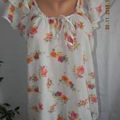 Яркая шифоновая блуза с цветочным принтом