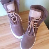 Sofi Весенние женские ботинки натуральная замша очень красивый бежевый цвет