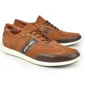 Кроссовки кожаные мужские коричневые на шнуровке Cooper Украина Гарантия, бесплатная доставка