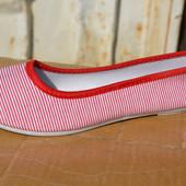 Женские балетки мокасины тканевые белые красные полоска полосатые
