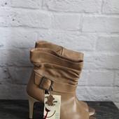 КОЖА ботинки с открытым носком Stradivarius р. 36(35)