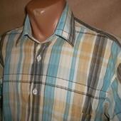 Мужская рубашка с коротним рукавом в клетку Спокойные тона ПОГ=56