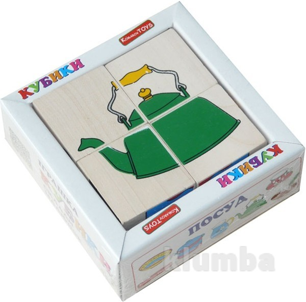 Кубики «сложи рисунок: посуда», komarovtoys артикул: т 605 фото №1