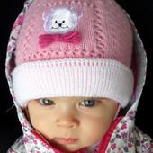 Шапка шапочка для девочки  весна/осень, двойная, р. 40-42. (3-6мес)