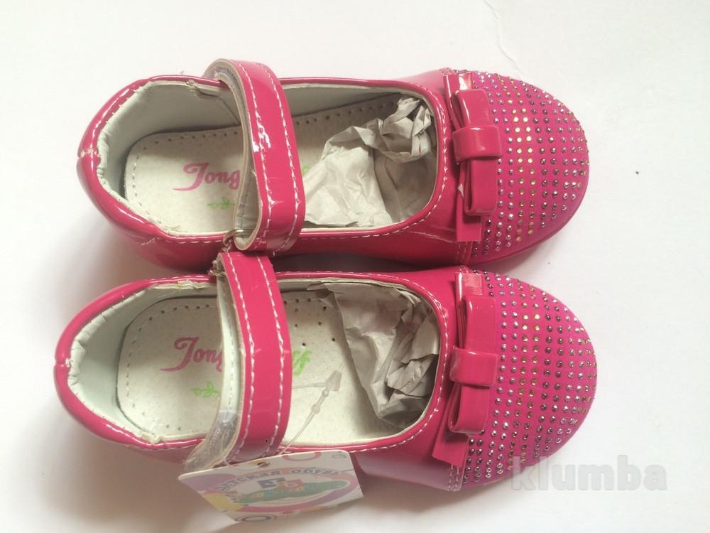 Детские туфли розовые для девочки со стразами фото №6