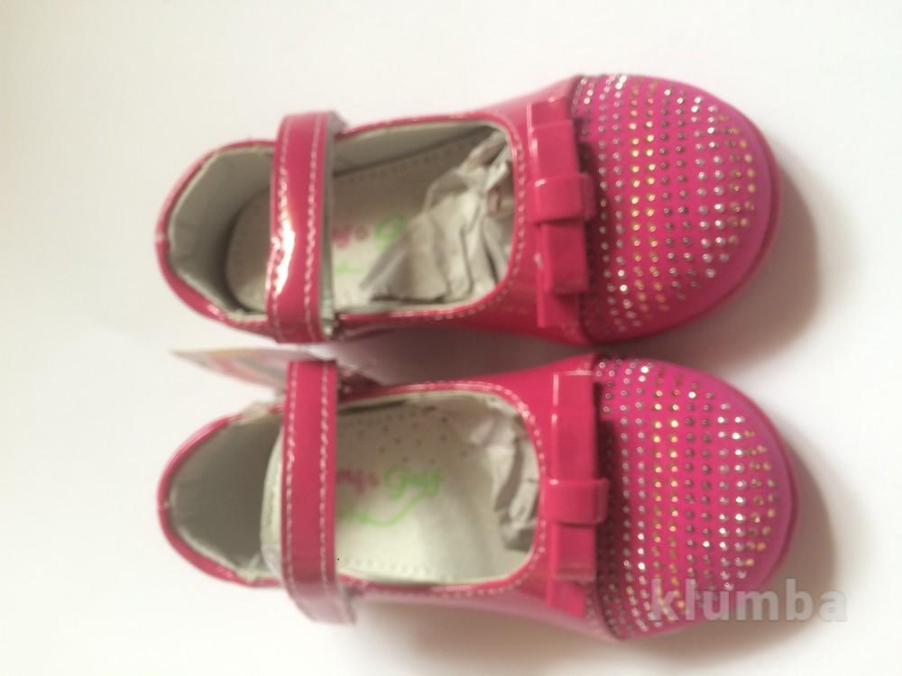 Детские туфли розовые для девочки со стразами фото №7