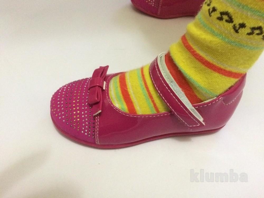 Детские туфли розовые для девочки со стразами фото №5