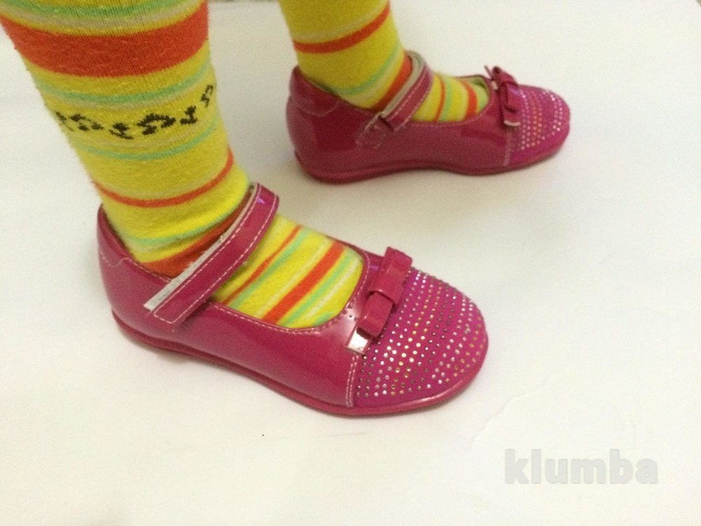 Детские туфли розовые для девочки со стразами фото №4