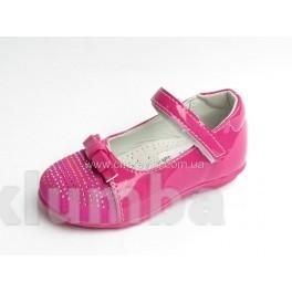 Детские туфли розовые для девочки со стразами фото №1