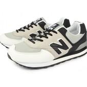 Кроссовки кожаные New Balance 574 серо бело черные