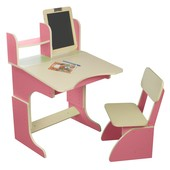 Детская Парта растущая розовая с мольбертом и стульчиком. F47