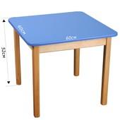 Детский Стол деревянный синий c квадратной столешницой. F14