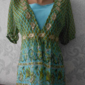 Шифоновая блузка - туника  с маечкой L